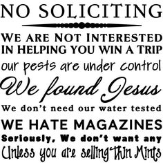 No Soliciting Vinyl Decal by RemarkableWalls on Etsy, $12.00