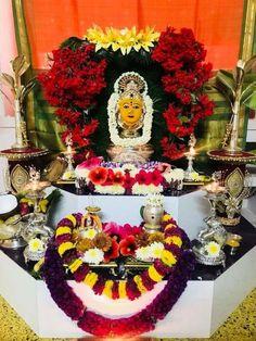 "Varalakshmi Vratham or Varalakshmi Vrat is the festival to appease Goddess Lakshmi, the consort of Lord Vishnu. Vara means that ""boon"" and Lakshmi means ""Goddess of Wealth"". Diy Diwali Decorations, Festival Decorations, Table Decorations, Mysore Painting, Pooja Room Door Design, Diwali Diy, Living Room Sofa Design, Puja Room, Goddess Lakshmi"