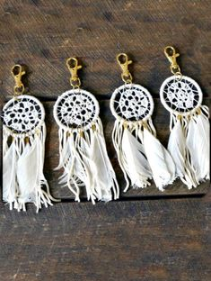 White Boho Dreamcatcher Keychain