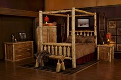 Bring Mother Nature to bed with you in this beautiful Log Canopy Bed
