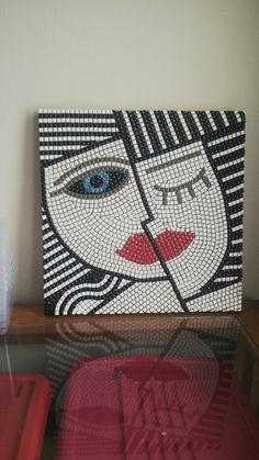 mosaic picasso face to be grouted