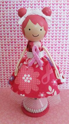 Lacy Breast Cancer Awareness Miniature Wooden Clothespin Doll