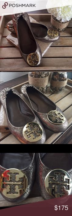 Tory Burch Reva Flats Tory Burch Reva Flats. Good condition and perfect for the holidays! Size: 9.5 Color: Gold Tory Burch Shoes Flats & Loafers