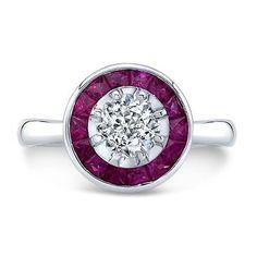 Vintage Art Deco Inspired European Cut Diamond Engagement Ring on 14K White Gold