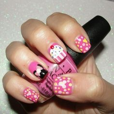 My nails for my nieces 1st birthday party that was on Saturday! It was Minnie Mouse themed....