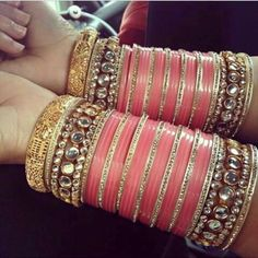 Pink and golden bangles Bridal Bangles, Gold Bangles, Bridal Jewelry, Indian Bangles, Bridal Chuda, Thread Bangles, India Jewelry, Jewellery, Indian Wedding Jewelry