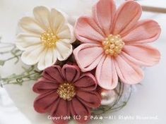 Kanzashi Flowers, Fabric Flowers, Hair Pins, Garland, Quilts, Floral, Crowns, Bouquets, Hair Accessories