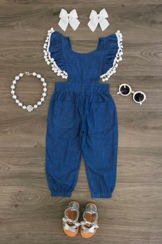 Denim Blue Pom Pom Jumpsuit