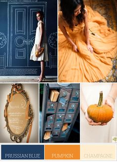 prussian blue, pumpkin and champagne