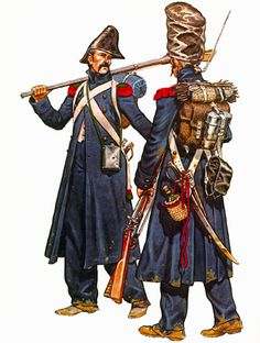 French; Imperial Guard Chasseurs à Pied, & Grenadiers à Pied, in campaign dress Russia (1812) by Michael Chappell