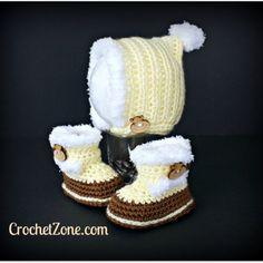 Fuzzy Bonnet & Bootie Crochet Pattern Set by Crochet Zone