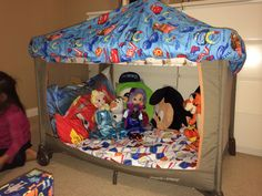 Repurposed our Pack and play crib to this play house for the kids. Baby Pack And Play, Pack N Play, Baby Play, Toddler Playpen, Diy Toddler Bed, Play Beds, Home Daycare, Cool Baby Stuff, Kid Stuff