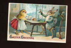 Dressed Rabbit & Chick at Table  Eggs Antique  Embossed Easter Postcard-kkk887