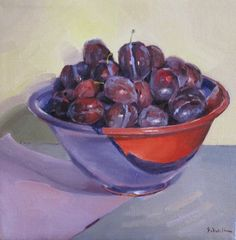 Purple Bowl of Plums fruit bowl still life kitchen wall art, painting by artist Sarah Sedwick