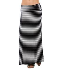 Magic Fit Black & White Stripe Fold-Over Maxi Skirt ($12) ❤ liked on Polyvore featuring skirts, black and white stripe maxi skirt, long maxi skirts, black and white stripe skirt, black and white striped skirt and striped maxi skirts