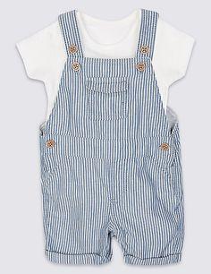 2 Piece Pure Cotton Bodysuit & Bib Shorts Outfit | M&S