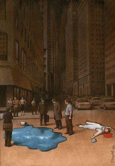 Polish illustrator Pawel Kuczynski cleverly uses satire to portray today's social, political and cultural reality. He has worked in satirical illustration Pin Ups Vintage, Sketch Manga, Satirical Illustrations, City Sky, Political Art, Question Everything, Art Academy, Surreal Art, Thought Provoking
