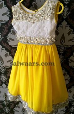 Yellow Frock with Pearls - Indian Dresses
