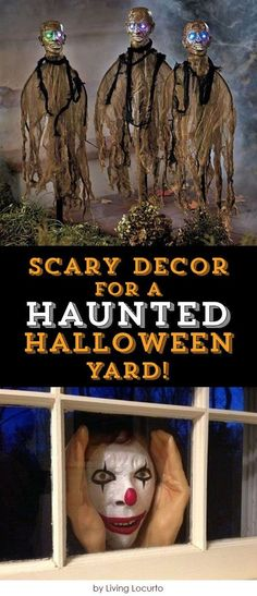 Scary Decor Ideas for a Haunted Halloween Yard! If you would like to be the haunted house on the street look no further! There are so many cool and creepy Halloween decorations out there that you are sure to find just what you need to keep all the gobli Decoration Haloween, Creepy Halloween Decorations, Halloween Haunted Houses, Halloween House, Holidays Halloween, Spooky Halloween, Halloween Themes, Halloween Party, Halloween Stuff