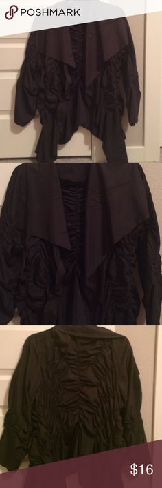 Women's jacket Black light weight jacket with big labels and gathered material on front back and arms. The picture doesn't do justice. This jacket is soooo cute🎉🎉🎉🎉🎉🎉🎉 Great condition Jackets & Coats Utility Jackets