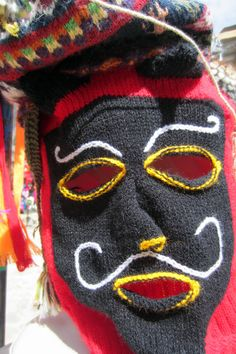 Andean knitting - Centro Artesanal Cusco, traditional Qolla-style knit mask
