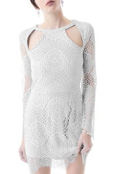 Lace Hollow Out Long Sleeves Dress