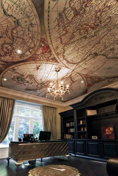 Ancient map on the ceiling of a home office - I would sooo do this!