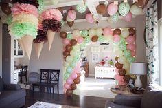 Aylah's Ice Cream Birthday Party November Birthday Party, 4th Birthday Parties, Birthday Party Decorations, Birthday Ideas, 3rd Birthday, Ice Cream Theme, Ice Cream Party, Kitty Party Themes, Ice Cream Balloons