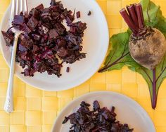 Roasted Beets With Sautéed Beet Greens - Ellie Krieger Beet Recipes, Vegetable Recipes, Healthy Recipes, Veggie Meals, Beet Stem Recipe, Beet Plant, Sauteed Beet Greens, Roasted Beets, Vegetable Dishes