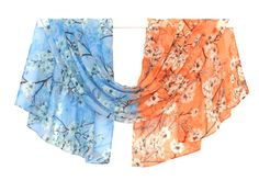 chiffon scarf, fashion shawl, handmade scarves, silk scarf, winter scarf, print scarves, womens gift, autumn scarf, flowers scarf, head scarf,