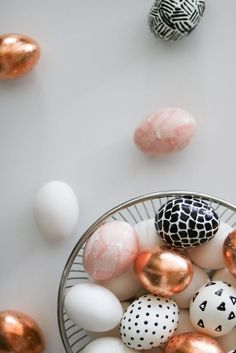 black + white and rose gold easter egg diy