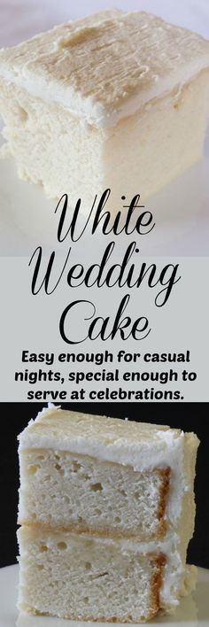 Delicious white cake with white buttercream icing. Tastes like old fashioned white wedding cake. Simple enough for beginners. Delicious white cake with white buttercream icing. Tastes like old fashioned white wedding cake. Simple enough for beginners. Food Cakes, Cupcake Cakes, Just Desserts, Delicious Desserts, Dessert Recipes, Frosting Recipes, Homemade Desserts, Fondant Recipes, White Almond Cakes
