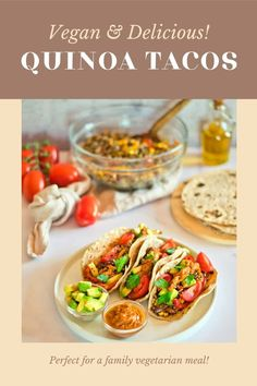 Quinoa Mix, Quinoa Tacos, Vegan Tacos, Family Vegetarian Meals, Vegetarian Recipes, Daniel Fast Recipes, Mexican Salsa, My Best Recipe, Good Food
