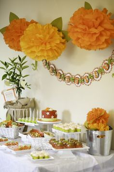 Fall baby shower with candy apples and autumn colors.