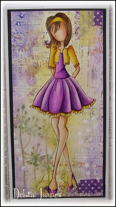Lovely card that could be a canvas by Debra James. Love the background