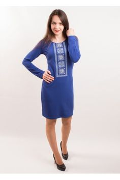 Чарівна синя сукня з трикотажу з вишивкою хрестиком блакитного та білого  бежевого (колір кави) 99a4be955ccfc