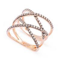Anillo de oro rosa con 4 filas de 74 diamantes brown (0.76 total quilates)