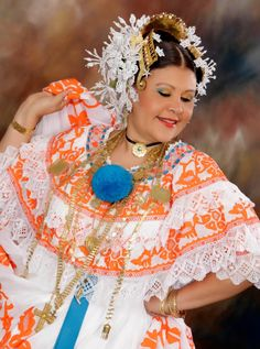 Panamanian Pollera (Folkloric dress) modeled by a dear beautiful friend Leihbys Vasquez