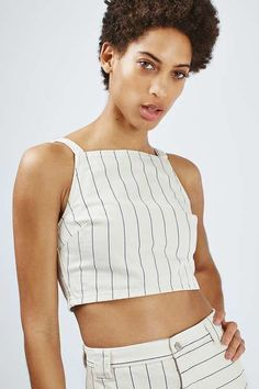 MOTO Ecru denim stripe crop-top, with back zip detail. #Topshop