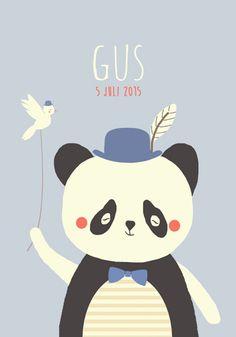 Geboortekaartje jongen - Gus - Pimpelpluis  https://www.facebook.com/pages/Pimpelpluis/188675421305550?ref=hl (# panda - beer - veer - pluim - hoed -  dieren - vogel - schattig - lief - origineel)