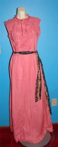 Vintage 60s Melon Pink Maxi Dress