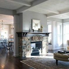 New Living Room Paint Gray Fireplaces Ideas Grey Fireplace, Family Room Fireplace, Fireplace Design, Fireplace Ideas, Living Room White, Living Room Paint, New Living Room, Kitchen Room Design, Family Room Design