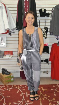 Our new black and white print jumpsuit by Zoe! @Pipsboutique