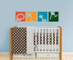 Safari Baby Blocks Decal Lion Giraffe Zebra Monkey by OwlHills, $30.00