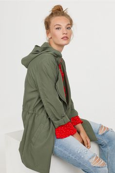 Parka z domieszką modalu - Zieleń khaki - Parka, Military Jacket, Hooded Jacket, Athletic, Womens Fashion, Jackets, Outfits, Style, Role Models