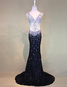 Formal+Evening+Dress+Trumpet+/+Mermaid+V-neck+Court+Train+Tulle+with+Beading+–+USD+$+170.99