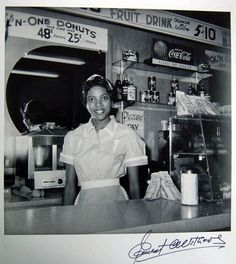 Helen Ann Smith at Harlem House, Beale St, Memphis, TN, c. 1950. [autographed] photo by Ernest Withers. Harlem House diner was right next to the New Daisy theater.