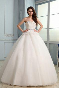 Sweetheart White Organza Wedding Gown sfp0705 - http://www.shopforparty.com/sweetheart-white-organza-wedding-gown-sfp0705.html - COLOR: White; SILHOUETTE: Ball Gown; NECKLINE: Sweetheart; EMBELLISHMENTS: Beading , Crystal , Ruffles , Tiered; FABRIC: Organ