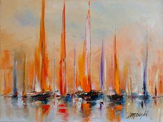 A romantic expedition Özdemir Emin Sailboat Art, Sailboat Painting, Sailboats, Seascape Paintings, Landscape Paintings, Acrylic Art, Art Techniques, Cool Art, Abstract Art