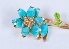 Vintage Enameled Brooch Aqua Blue Flower Pin by...